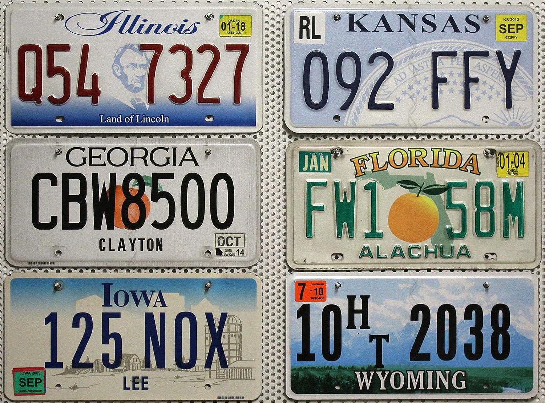 6 Kennzeichen Set Lot Us Nummernschilder Wyoming Illinois Florida Kansas Iowa Georgia Blechschilder Usa Auto Schilder Auto
