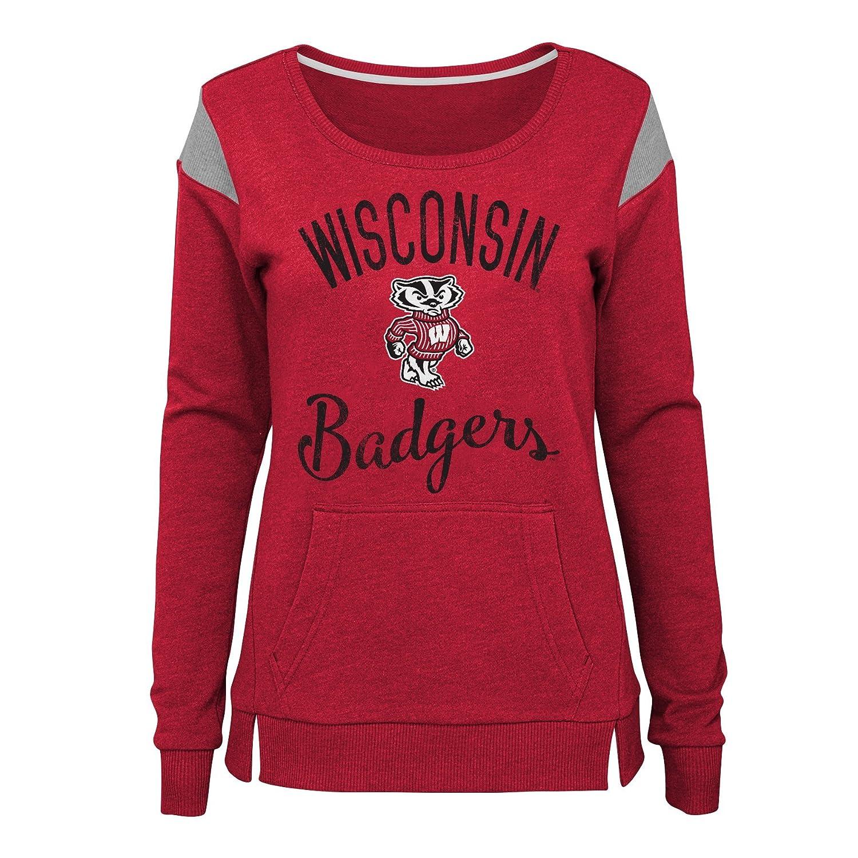 NCAA Wisconsin Badgers Juniors Outerstuff Classic Crew Pullover Fleece Large Team color 11-13
