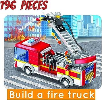 pizety Juego de Bloques de construcción de Escalera de Incendios para niños City (196 Piezas), Camión de Escalera de Incendios City: Amazon.es: Juguetes y juegos