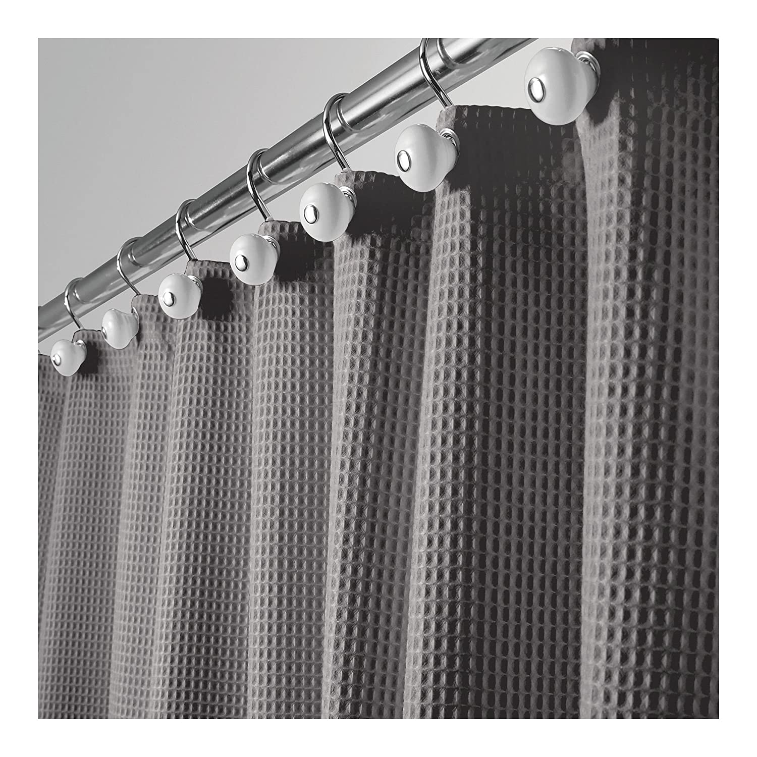 mDesign Hotel Quality Polyester/Cotton Blend Fabric Shower Curtain, Rustproof Metal Grommets - Waffle Weave for Bathroom Showers and Bathtubs, Easy Care - 72