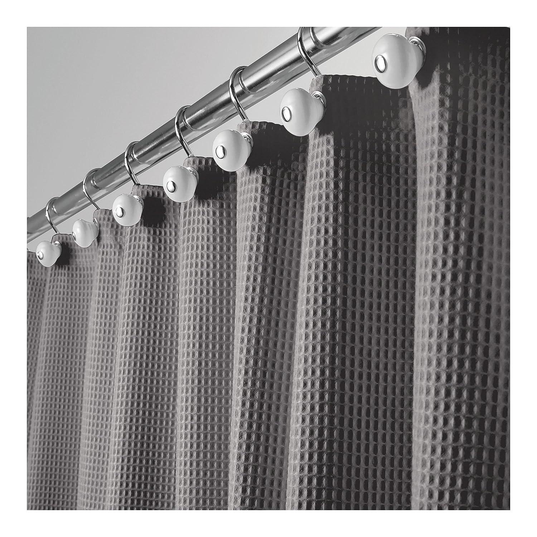 mDesign Hotel Quality Polyester/Cotton Blend Fabric Shower Curtain Waffle Weave Rustproof Metal Grommets Bathroom Showers Bathtubs - 72 x 72 - Black MetroDecor