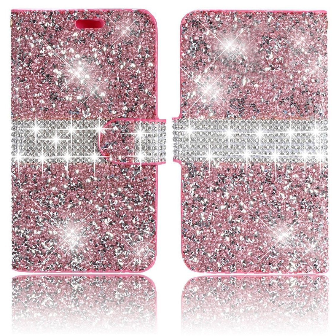 iPhone 6Plus/6S Plus Case,Vandot Diamond Shiny Glitter Sparkle Crystal Rhinstone Wallet Case pattern [Credit Card Holder] PU leather Magnetic Closure Flip Folio Stand Shock-Absorbing Practical Protective Cover Skin For Apple iPhone 6Plus/6S Plus 5.5 inch-B