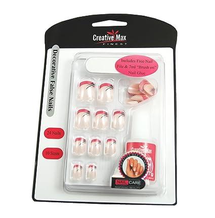Creative Max mejores decorativa uñas postizas, color rosa con punta de blanco y negro con