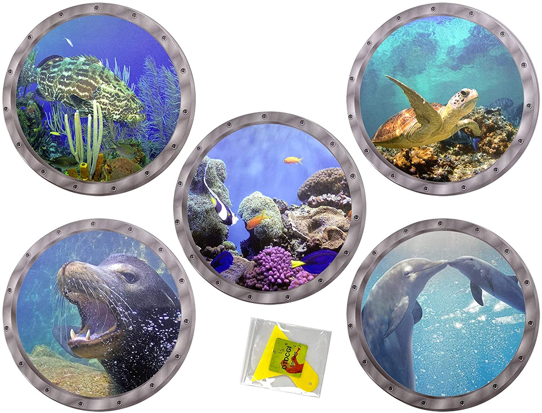 5 Pcs Ocean World Wall Stickers & Plastic Spatula, 11 inches Diameter Porthole 3D Sticker Sea Life Wall Decor
