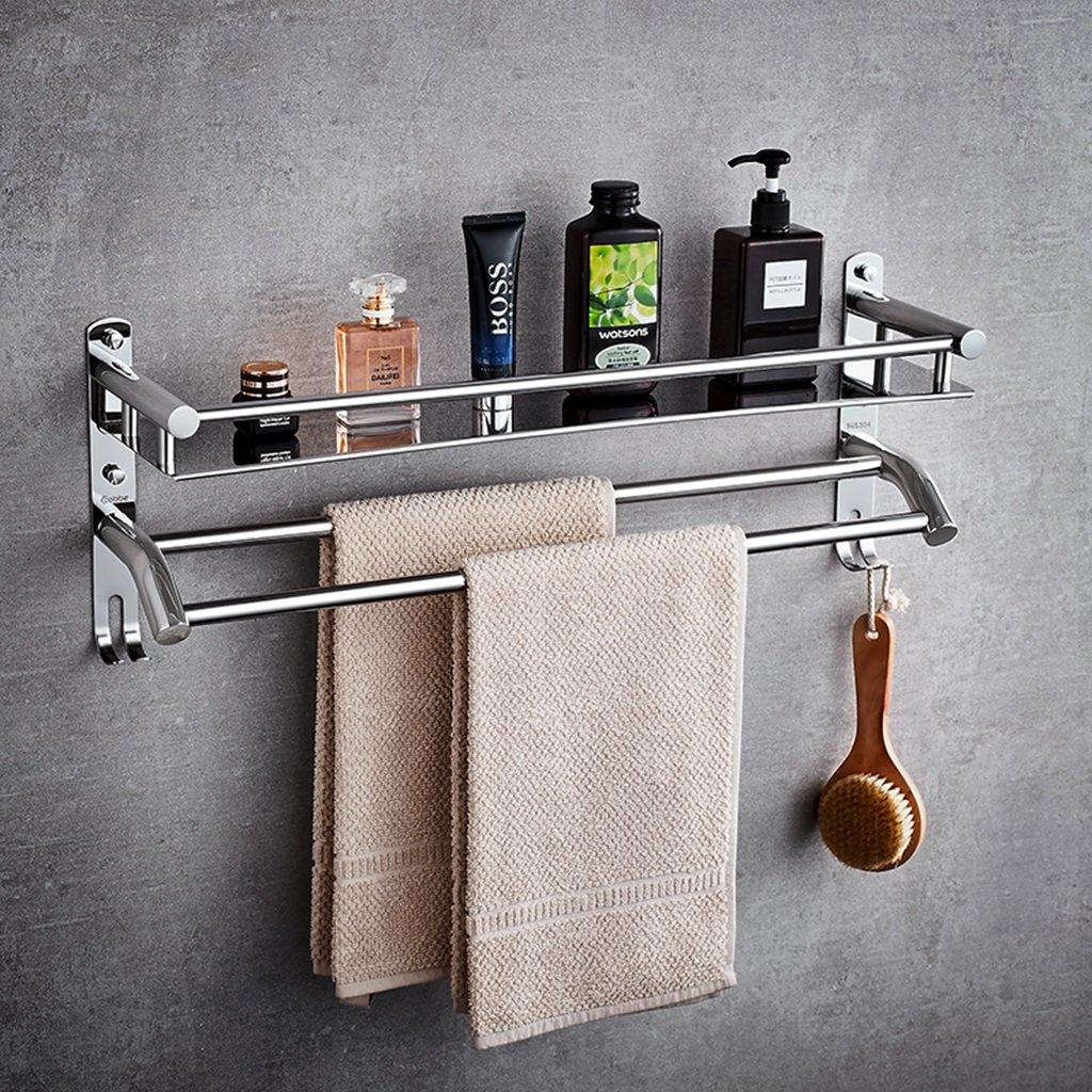 Multifunction 304 Stainless Steel Storage Shelf Towel Bar Bathroom Fittings Towel Rack Hook Up ( Size : 60CM )