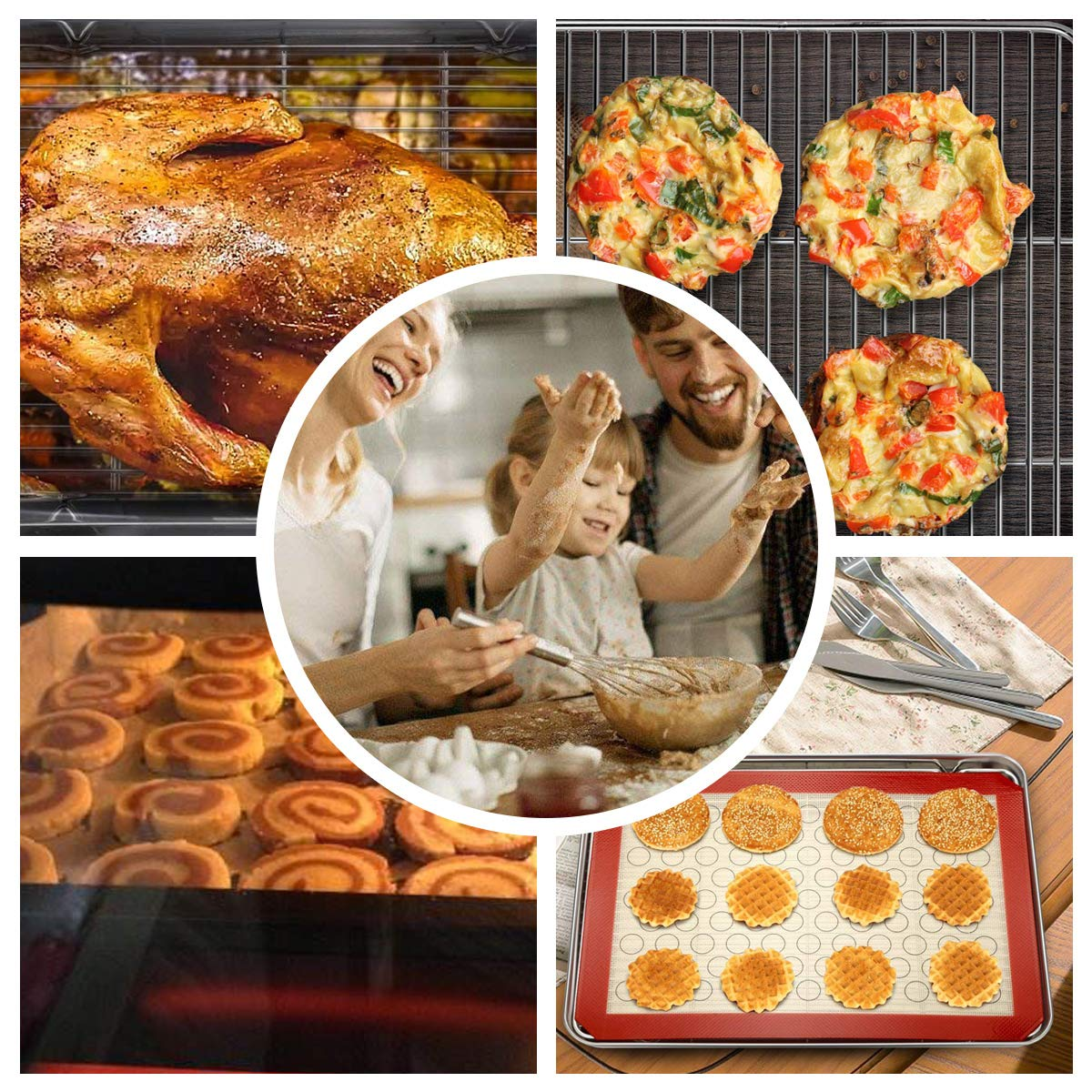 Footek Baking Sheets, Rack Set & Silicone Baking Mats, Stainless Steel Baking Pans Rectangle 16'' L×12'' W×1'' H, Non Toxic & Healthy, Mirror Polish & Easy Clean, Pack of 6 (2 Sheets + 2 Racks + 2 Mats) by Footek (Image #6)
