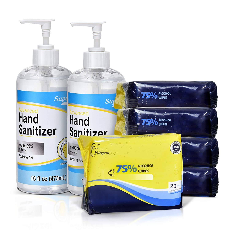 Superfy Hand Sanitizer Gel + wet wipe bundle, sanitizer with Pump, 32 oz sanitizer and 100 wipes total