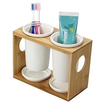 Porta Cepillos de Dientes Sostenedor Bambú con 2 Tazas de Cerámica: Amazon.es: Hogar