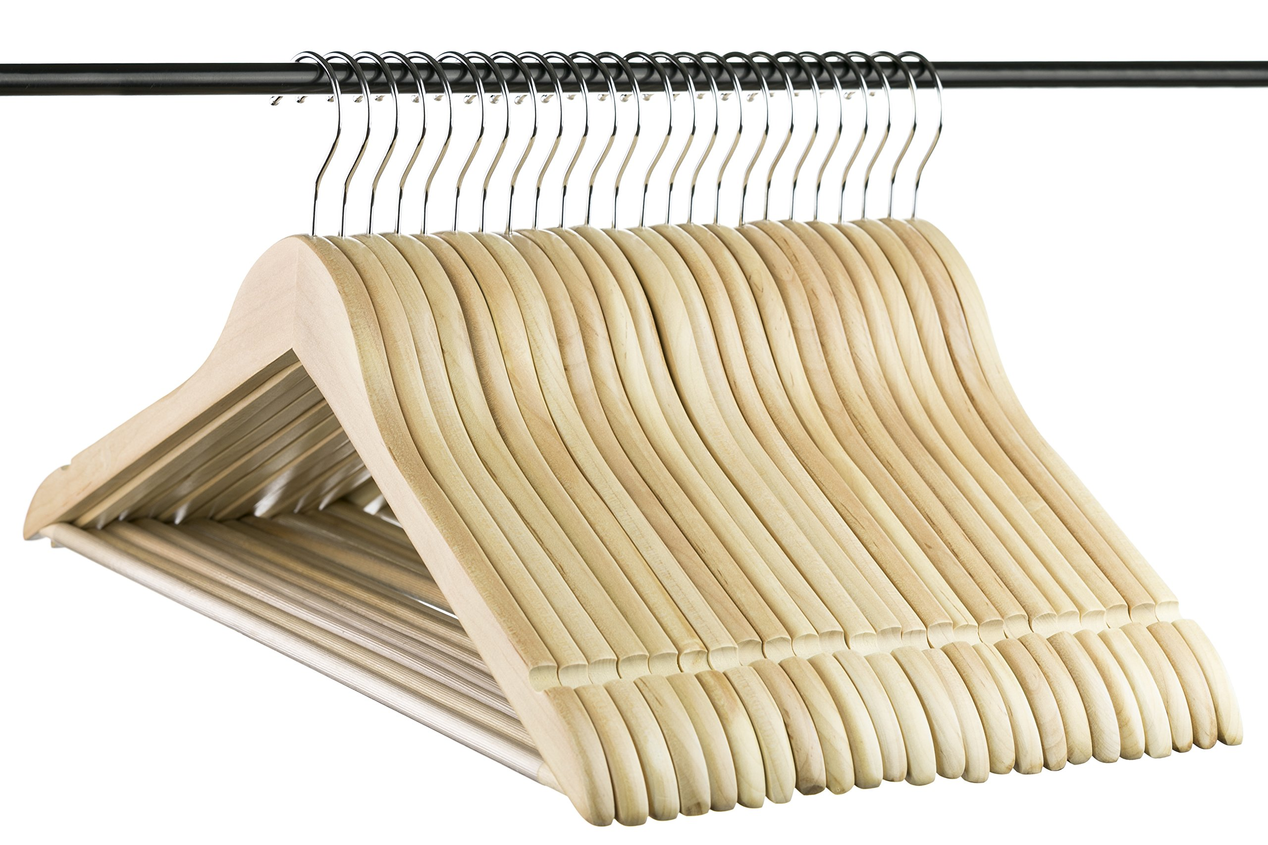 Polished Natural Everyday Wood Hangers with Non-Slip Bar and Notches, Super Sturdy and Durable Wood, 24 pack by Neaties