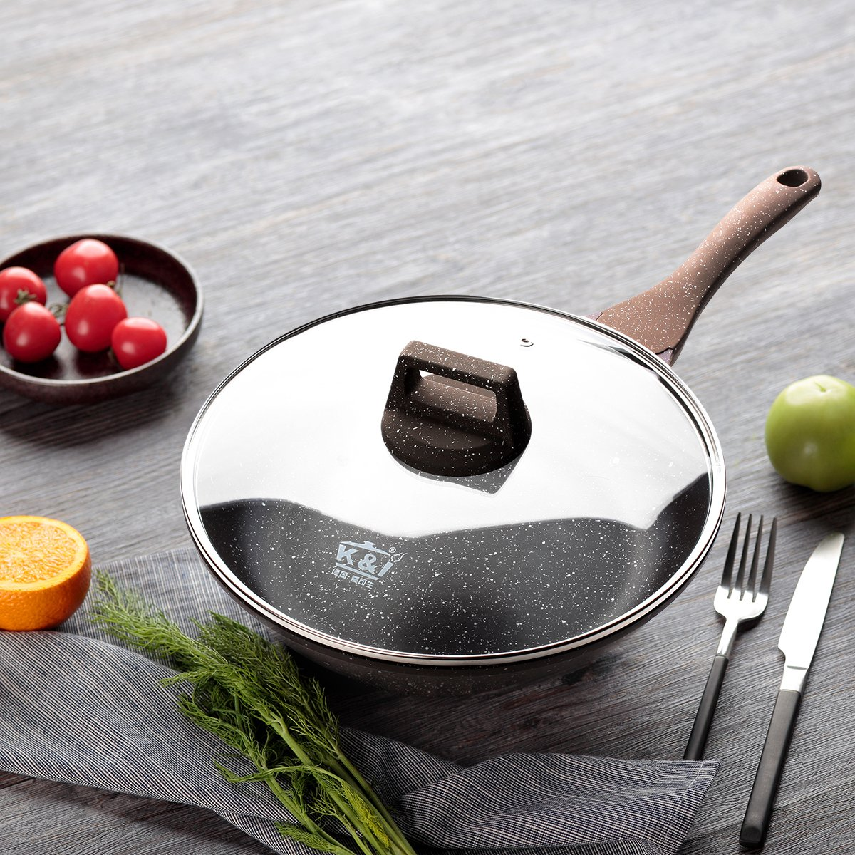 KI 11(28cm) Natural Coated Omelet Fry Pan with Glass Lid Aluminum Wok Pan, Stone&Ceramic Nonstick Omelette Fry Pan, PFOA Free, 1 Year Warranty