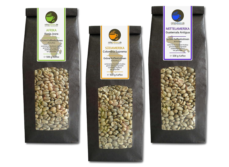 Sparpack Rohkaffees Kenia, Kolumbien und Guatemala Arabica