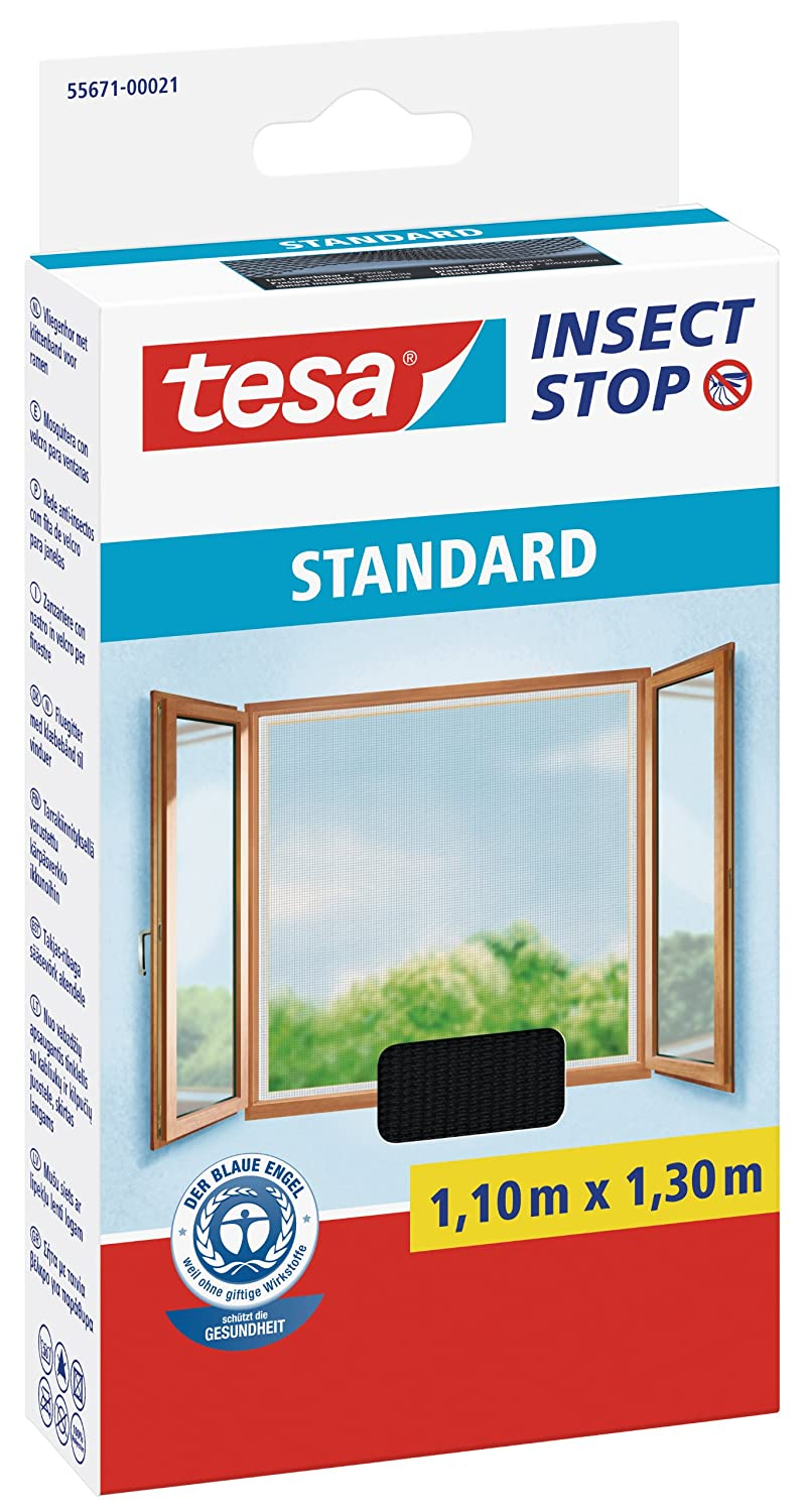 tesa 55671-00021-03 Insect Stop Hook and Loop Standard Easy To Use, Washable Insect Screen For Windows, 1.1 x 1.3 m - Anthracite