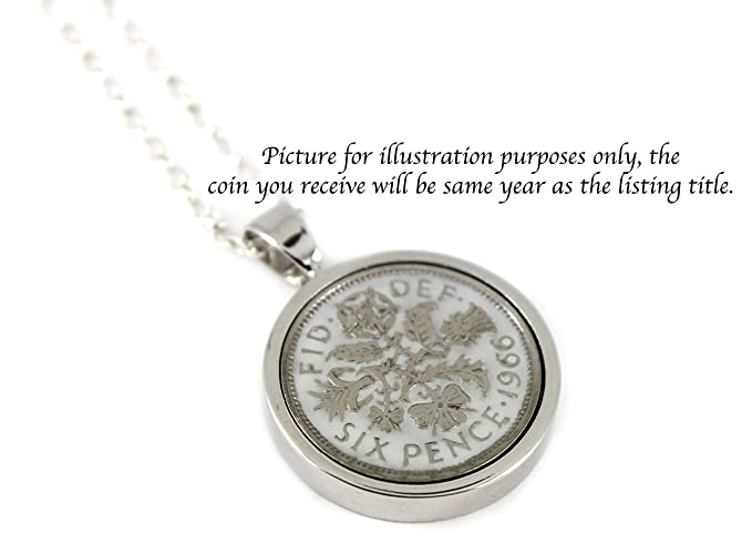 Choice of 8 Colour Add On Engraving Option Year 1949 Hand Painted Enamel Lucky Sixpence Necklace on 18 inches sterling silver chain