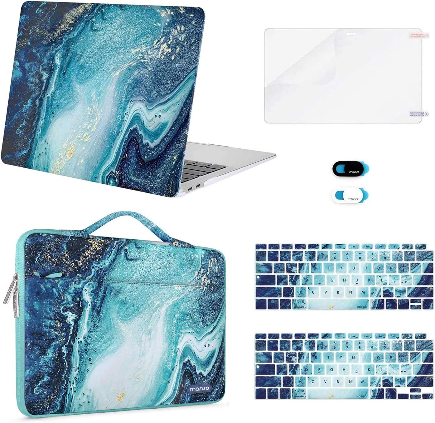 MOSISO Compatible with MacBook Air 13 inch Case 2020 2019 2018 Release A2337 M1 A2179 A1932 Retina, Plastic Creative Wave Marble Hard Shell&Sleeve Bag&Keyboard Skin&Webcam Cover&Screen Protector, Blue