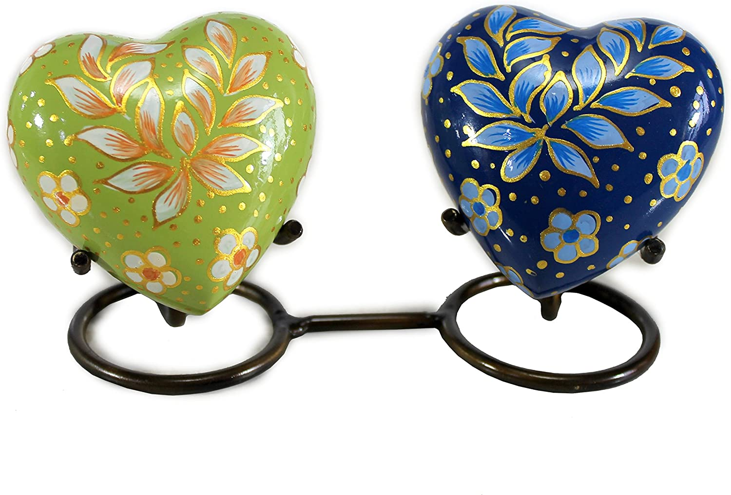 eSplanade Heart Shaped Companion Cremation urn - Pair of 2 with Stand - Memorial Container Jar Pot | Metal Urns | Burial Urns | Memorial Keepsake | Brass urns | Double Urns