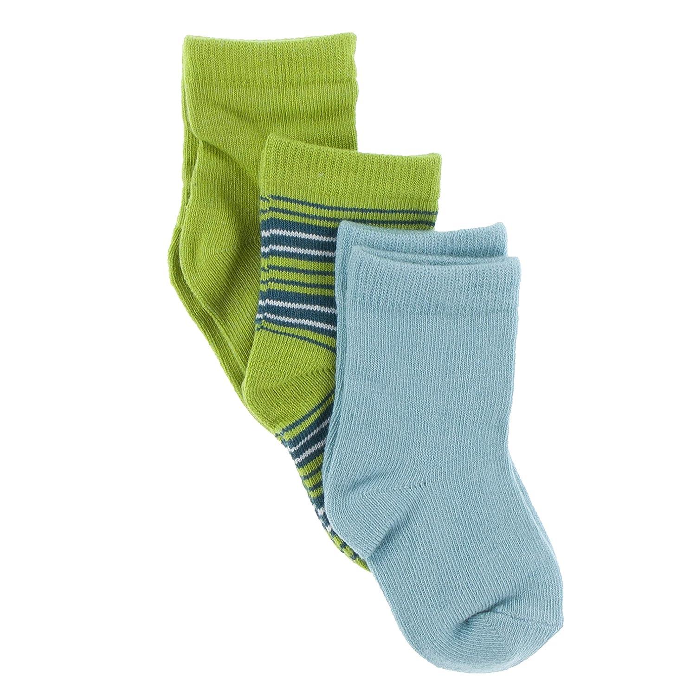 Kickee Pants Sock Set of 3 Meadow Cancun Glacier Stripe and Glacier