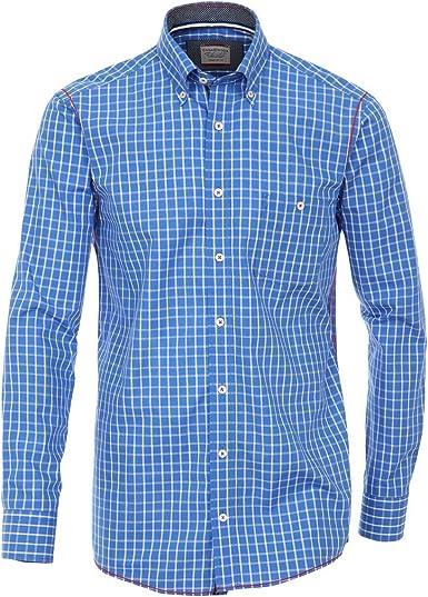 Camisa a Cuadros Azul Blanco Botón Cuello Abajo Casa Moda ...