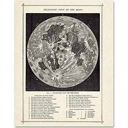 Antique Map of the Moon - 11x14 Unframed Art Print