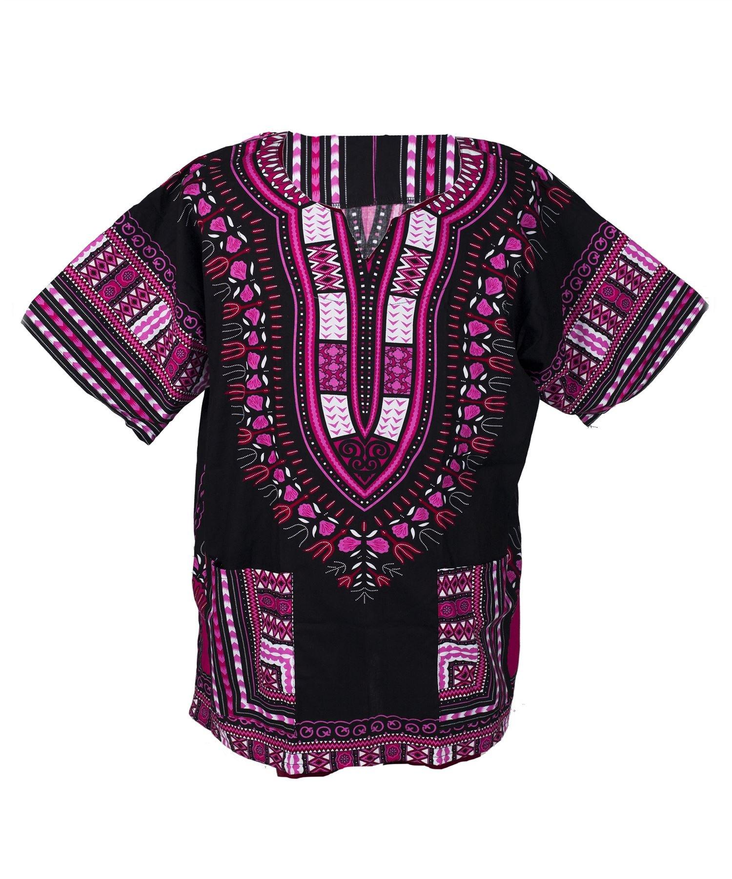Lofbaz Traditional African Print Unisex Dashiki Size XXL Black and Pink