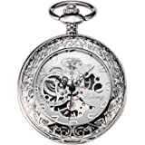 TREEWETO Men's Steampumk Mechanical Watches Silver Case Pocket Watch