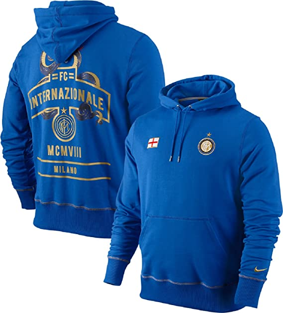 Nike F.C. Internazionale Milano Soccer Core Inter Milan Heritage Pullover  Hoodie (Large, Blue)