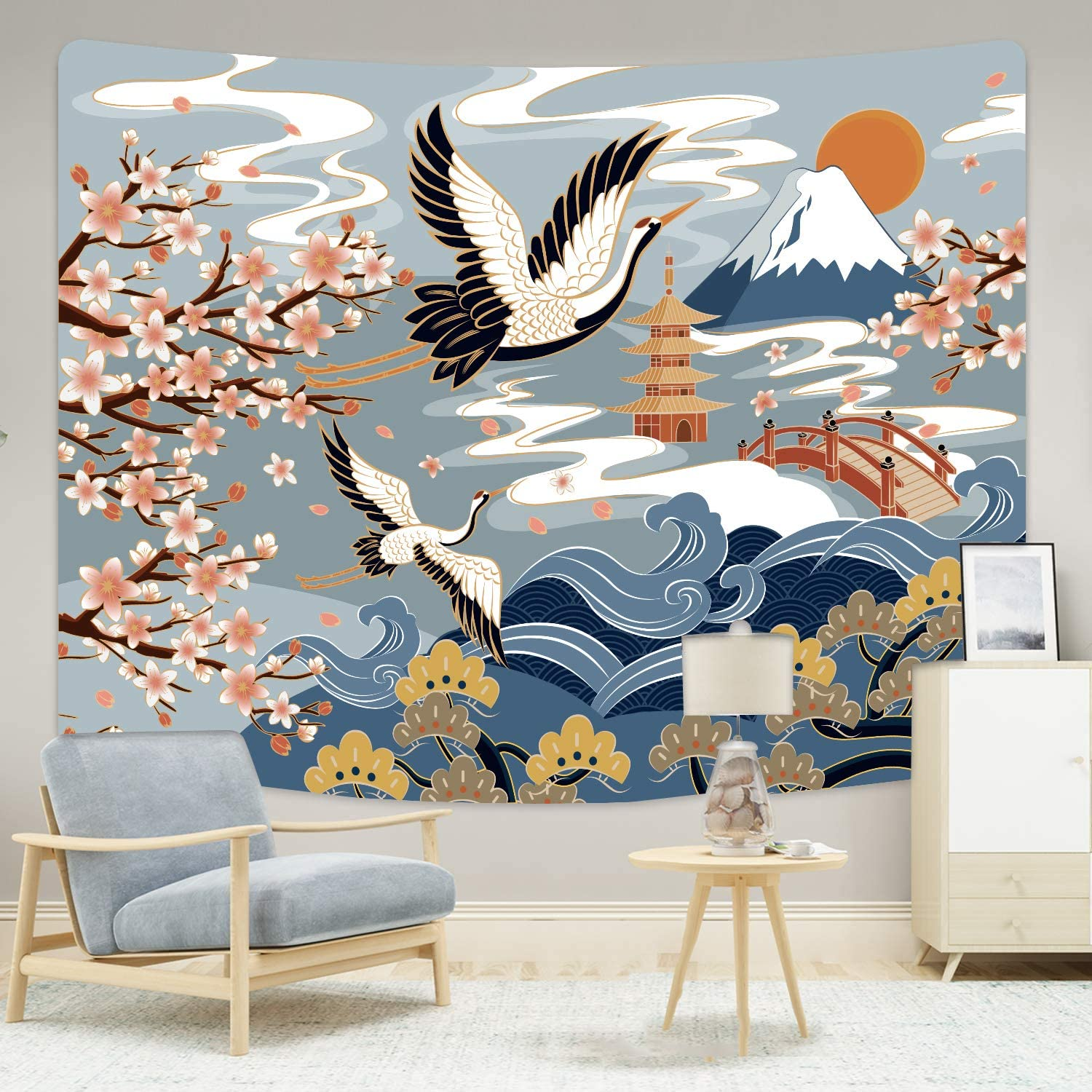 Kath & Cath Japanese Wave Tapestry, Ocean Sunset Sun Moon Tapestry, Great Wave Kanagawa Wall Tapestry Wall Hanging, Home Decorations for Living Room Bedroom Dorm Wall Decor in 60x80 Inches 150x200cm