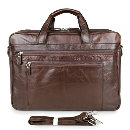 ea381f52a9 Mens Leather Briefcase Vintage 17 quot  Laptop Handbag Shoulder Tote  Messenger Bag
