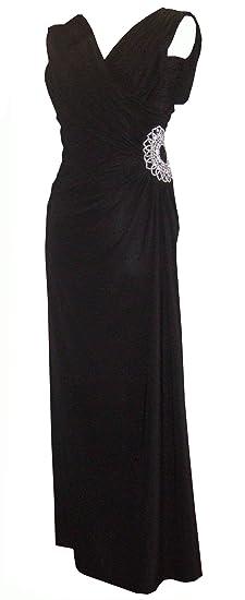 Black Size 6/8 Long Maxi Bead Diamante Grecian Evening Dress