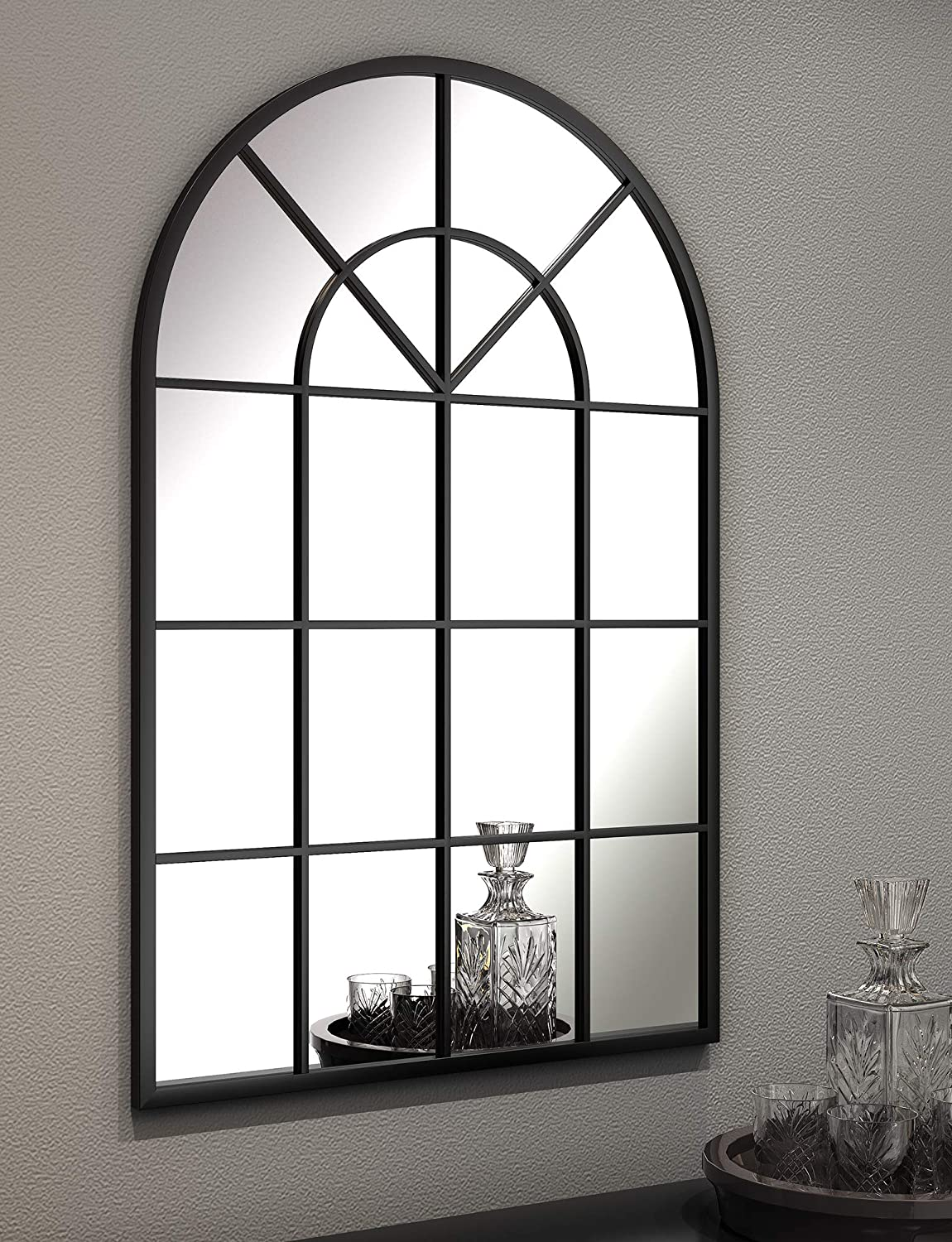 Black Arched Window Wall Mirrors - Large Metal Frame 32X48 in Double Modern Vanity Bedroom Decorative Mirror Farmhouse Rustic Vintage Entryway Wall Mirror