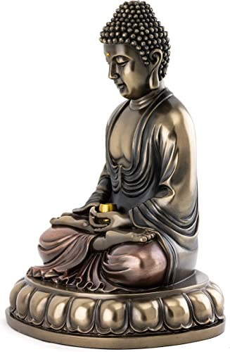 Top Collection Meditating Shakyamuni Buddha Statue – Enlightened East Asian New Age Sculpture in Premium Cold Cast Bronze – 10.5-Inch Collectible Supreme Buddha Figurine