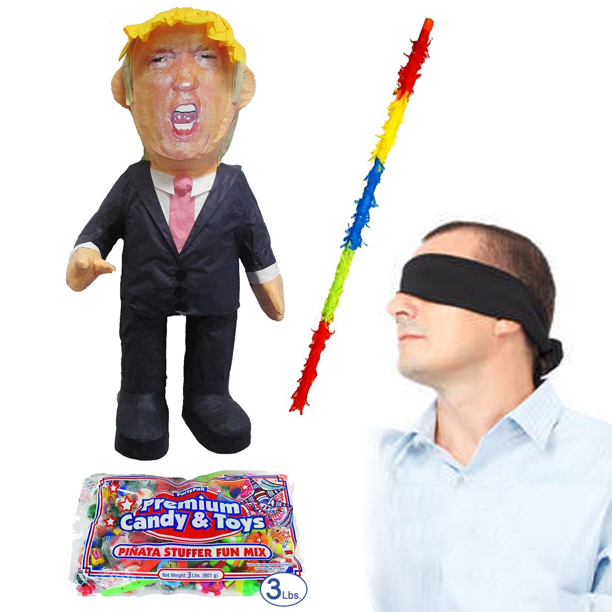 Donald Trump Pinata Kit Including Pinata, Buster Stick, Bandana and 3 lbs. Candy Filler