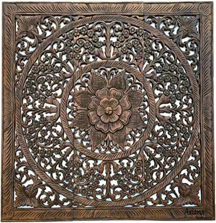 Amazon.com: Wood Carved Wall Panels. Floral Wood Wall Hanging ...