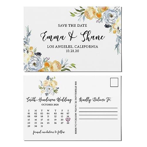 Amazon Com Floral Border Save The Date Postcards Calendar Design