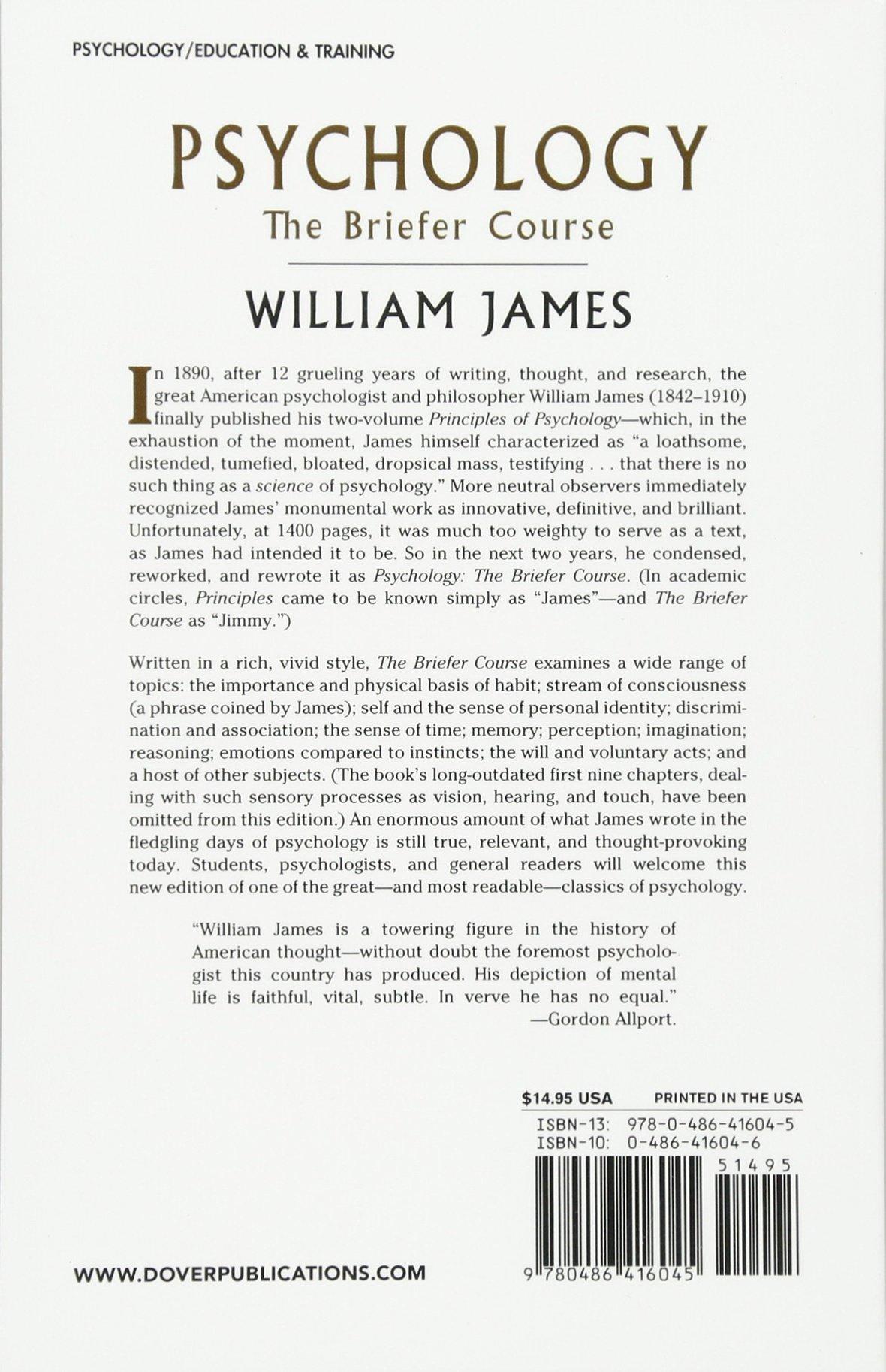 Psychology: The Briefer Course: William James: 0800759416042: Amazon.com:  Books