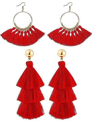 a4d05c4fa6aa9a Hestya 2 Pairs Tassel Earrings for Women Girls Handmade 3 Tiered Tassel  Dangle Earrings and Gold