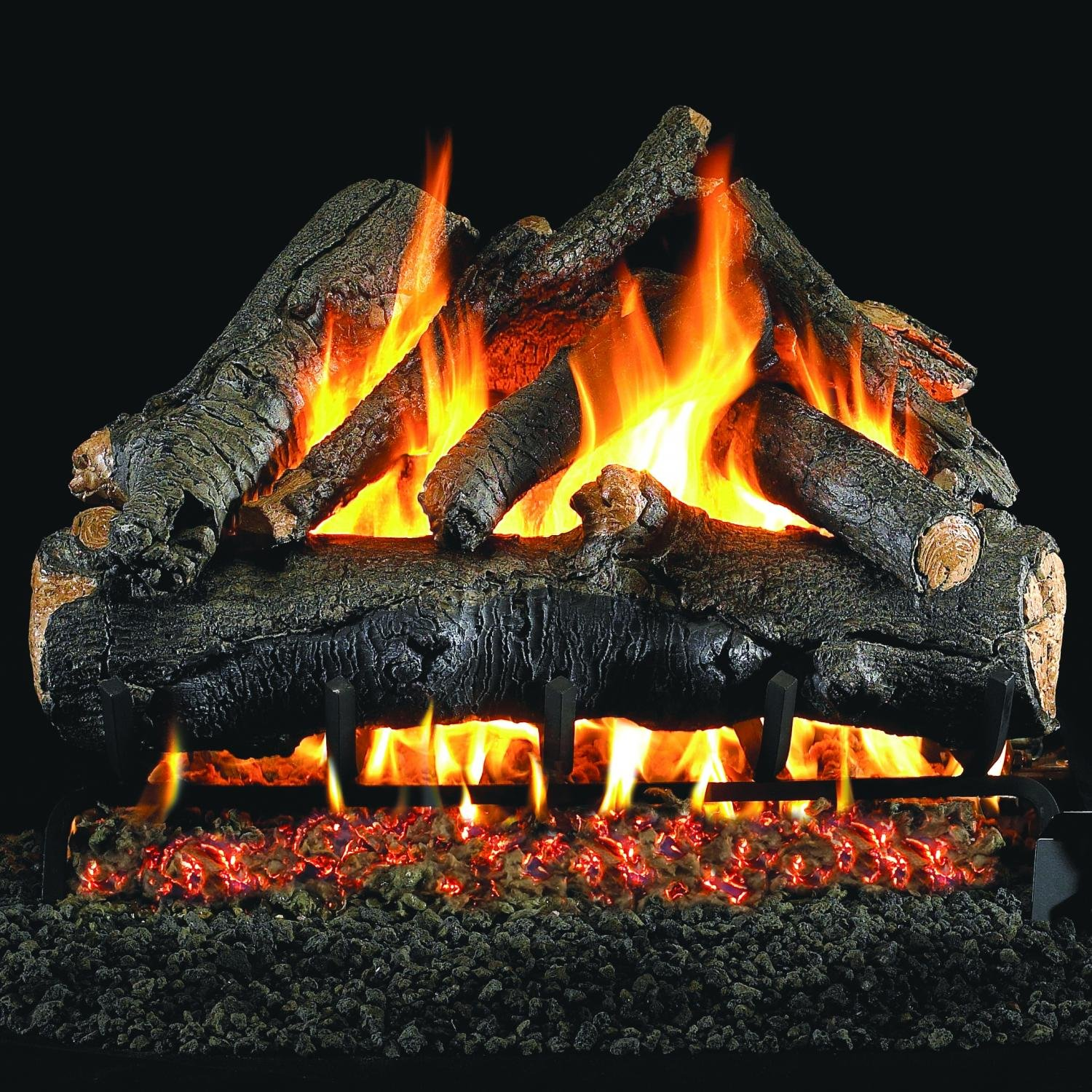 Peterson Real Fyre 18-inch American Oak Gas Log Set With Vented Natural Gas Ansi Certified G46 Burner - Variable Flame Remote by Peterson Real Fyre