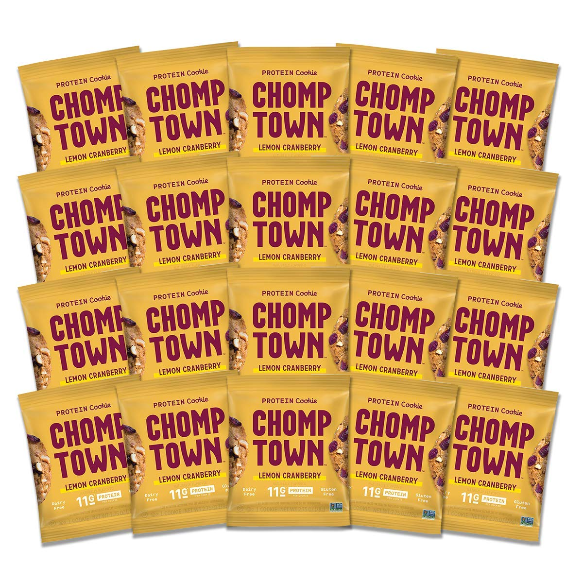 Chomptown | Lemon Cranberry | High-Protein Cookie | 11g Protein | Gluten-Free | Dairy-Free | Non-GMO | 2.75 oz (Pack of 20)