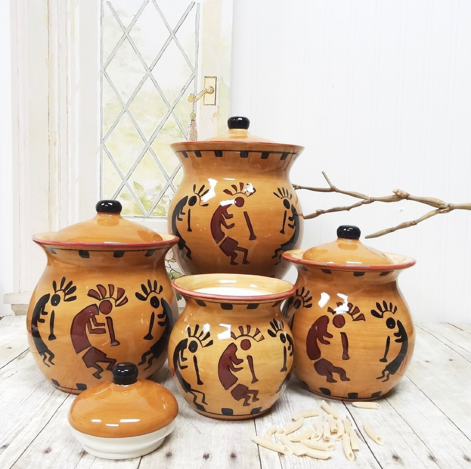 Amazon.com: Western Kokopelli, Hand Painted Ceramic, 4pc Canister Set,  83203 By ACK: Kitchen U0026 Dining