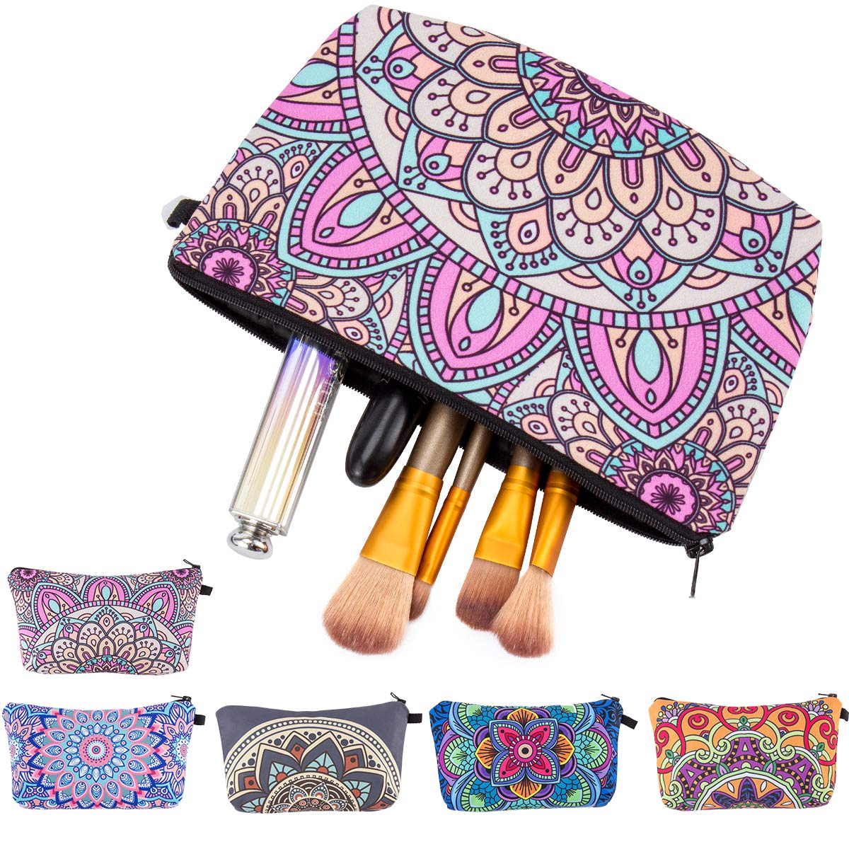 Biubee 5 Packs Makeup Cosmetic Bag- Waterproof Toiletry Pouch Bags with Mandala Flowers for Women Girls Travel Use (5 Styles)