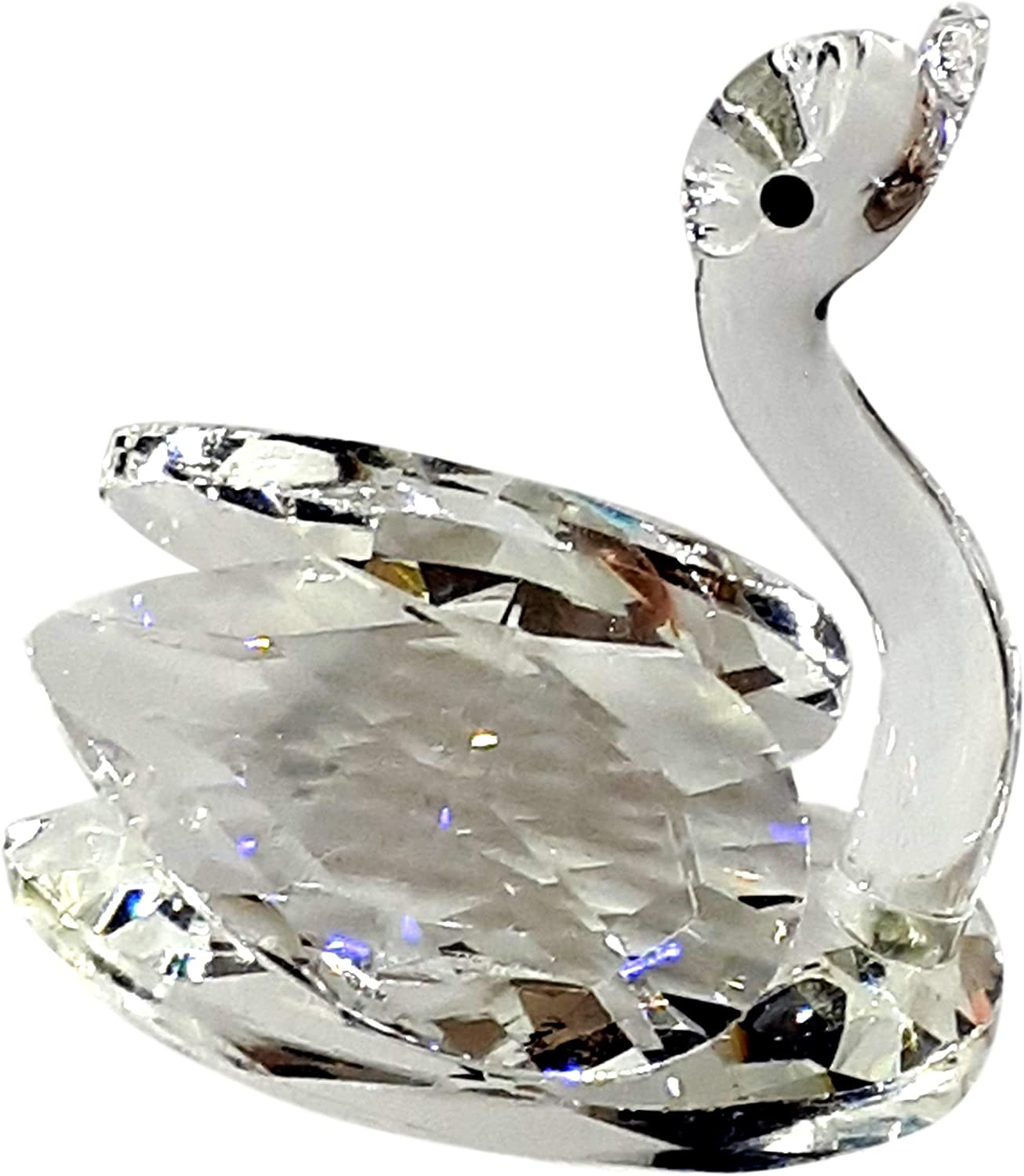 Rainbow crystal Swan Ornament, Hand Made Swan Crystal Glass Figurine, Gift for Swan Fans, Gift Box…