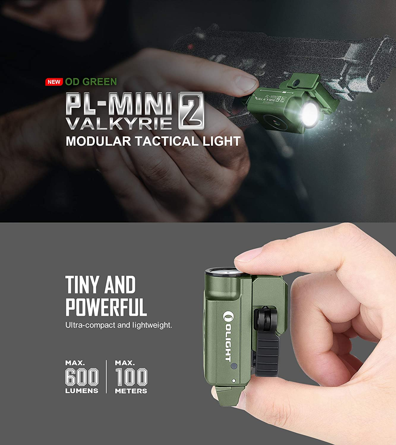 Details about  /OLIGHT PL-MINI 2 Valkyrie OD Green 600 Lms Magnetic Charging Pistol Flashlight