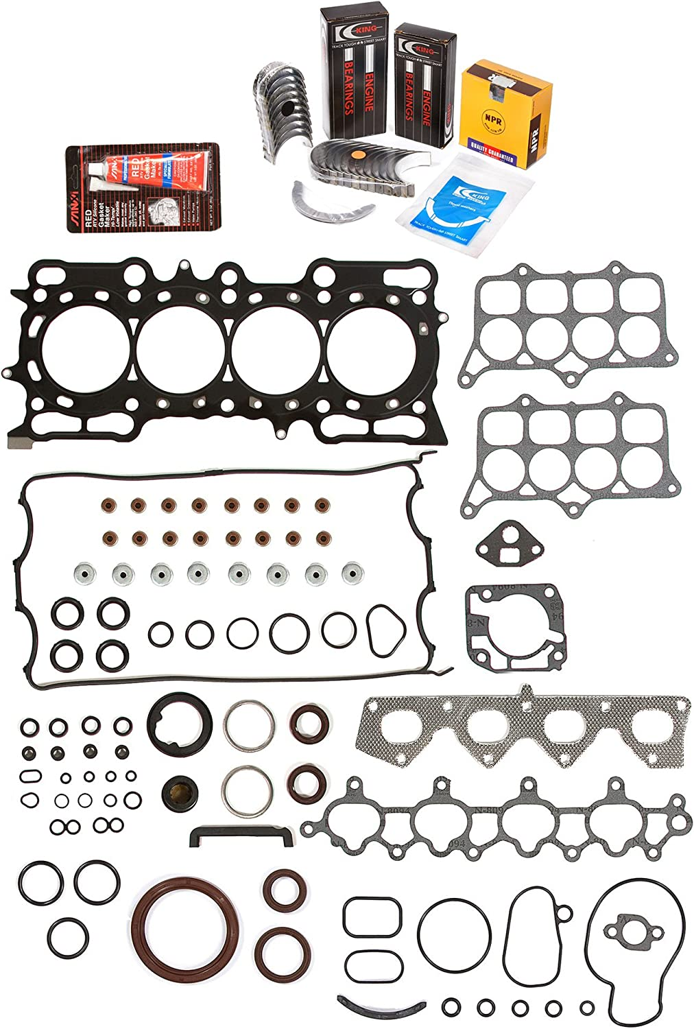 Fit 93-96 Honda Prelude VTEC DOHC Pistons Main Rod Bearings and Rings Set H22A1