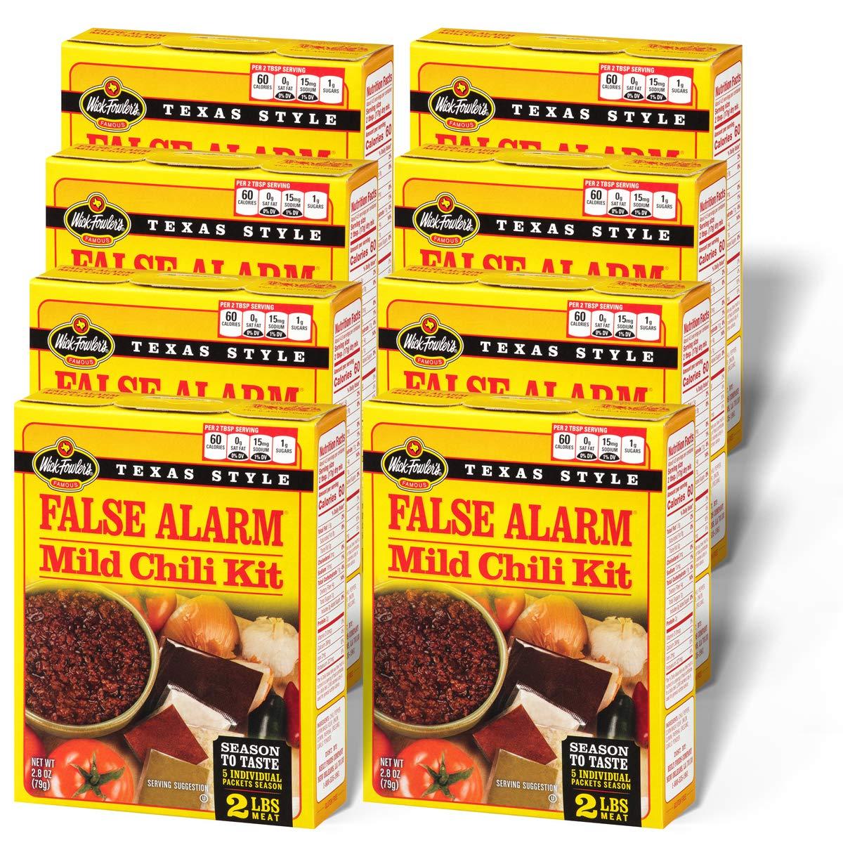 Amazon Com Wick Fowler S False Alarm Mild Chili Mix Kit 2 8 Ounces Pack Of 8 Grocery Gourmet Food