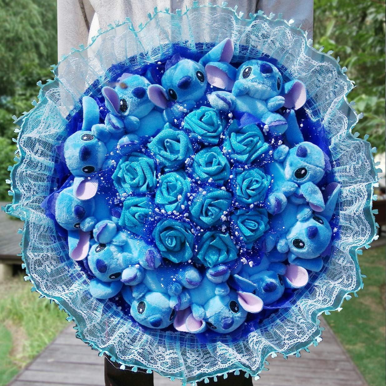 N//B Bouquet di Punti Kawaii Regalo Stitch Toy Doll Peluche Anime Lilo Stitch PVC Dolls di Animali Carino Stich Bouquet Regalo Romantico A