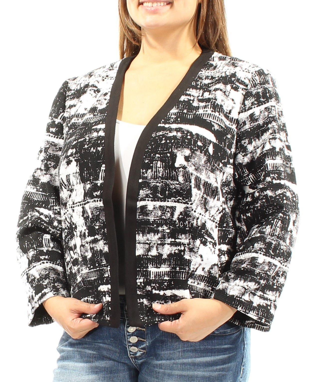 Nine West Women's Plus-Size Printed Flyaway Jacket, Black/Ivory, 16W