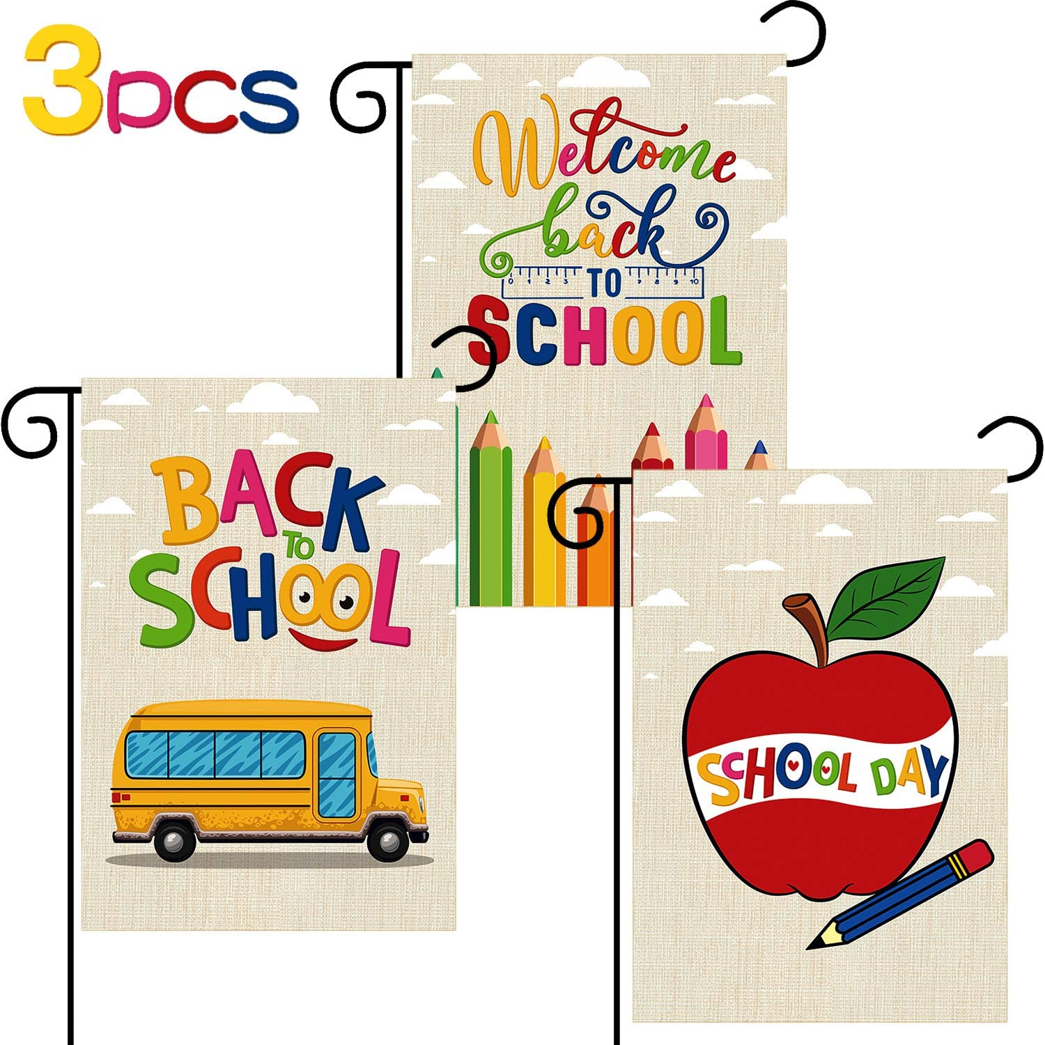 3 Pieces Back to School Garden Flag Fruit School Bus Flag Welcome Back to School Burlap Flag for School Days Double-Sided Yellow Outdoor Decorative Yard Flags 18 x 12 Inch