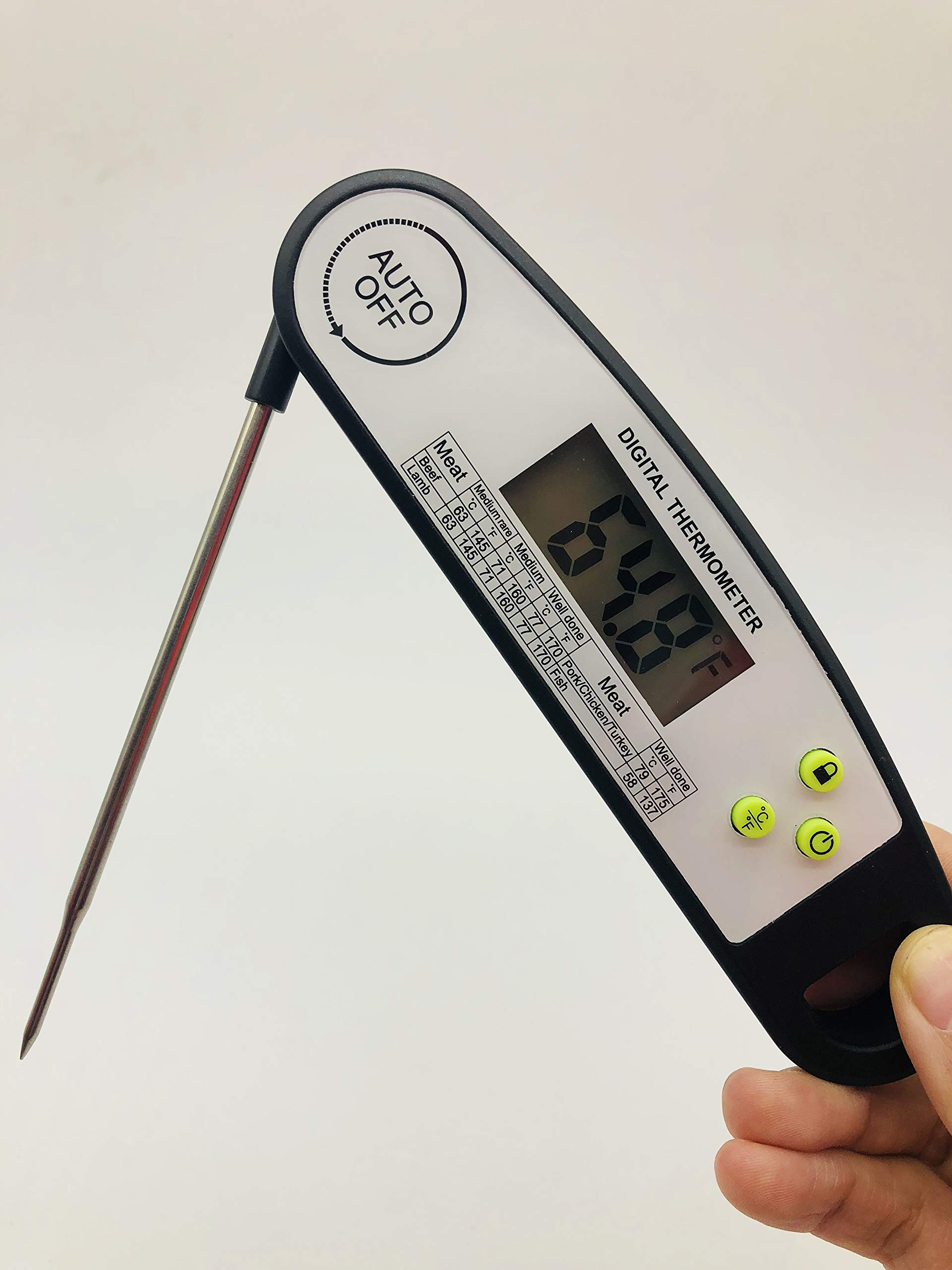 Electronic Waterproof Kitchen Food Thermometer- Fast Read Cooking Thermometer Digital Kitchen Thermometer with Magnet Baking Thermometer for Candy and High Temperature BBQ Frying Food Auto-off (BLACK)