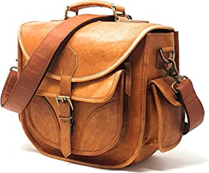 Leather Camera Bag, Street Photography Crossbody Shoulder Handbag with Removable Insert, Fits Standard Size DSLR with Lens, Brown