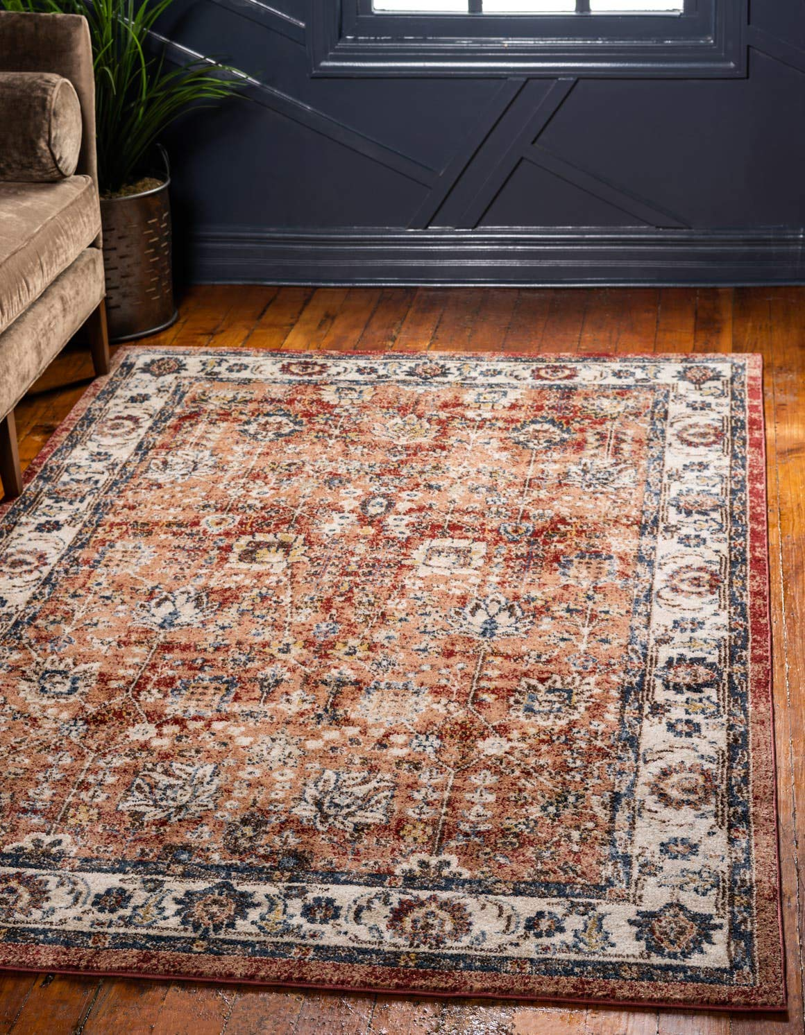 Safavieh Blossom Collection BLM106B Floral Vines Navy and Ivory Premium Wool Area Rug 4 x 6