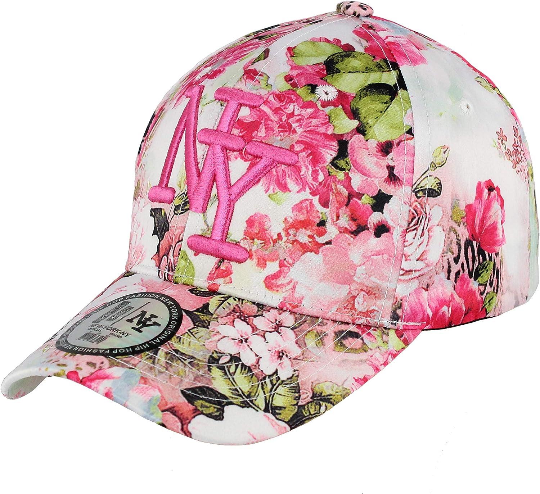 New York Casquette NY Femme Hip hop Baseball Rose Model Fleuri Strapback Cap r/églable visi/ère Arrondie